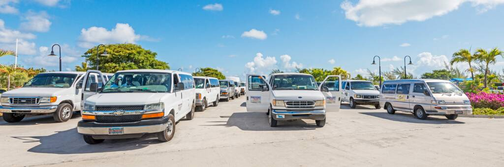 taxi vans at the Grand Turk Cruise Center