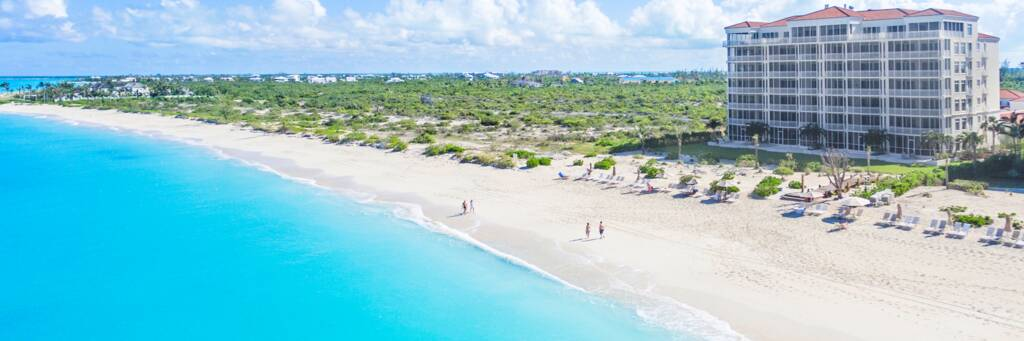 aerial view of the Venetian Resort on Grace Bay Beach in the Turks and Caicos