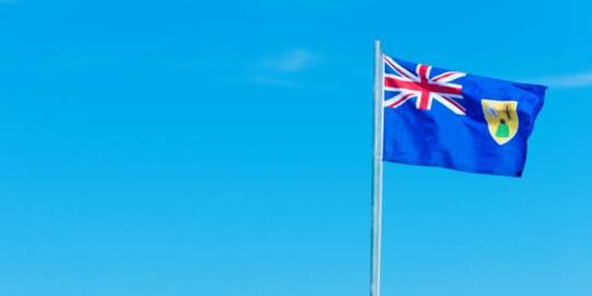 Turks and Caicos flag on a flag pole
