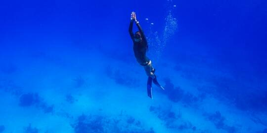 freediver at Malcolm Roads Beach