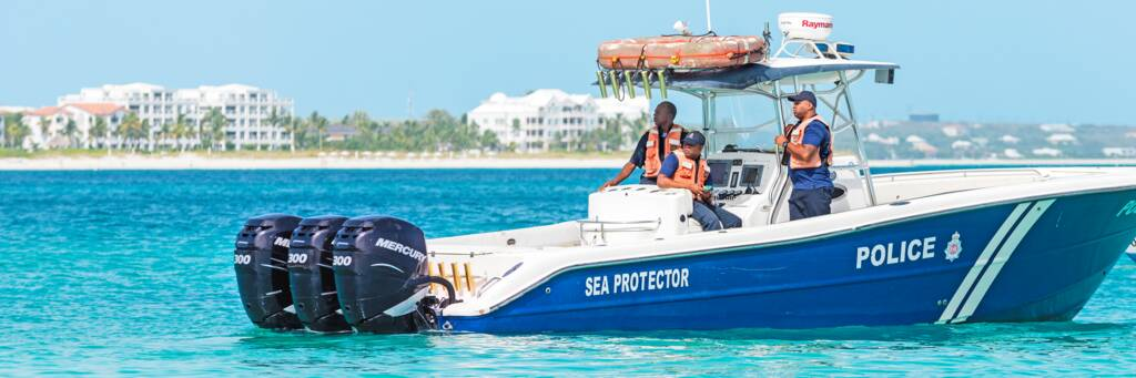 Royal Turks and Caicos Police boat on Grace Bay