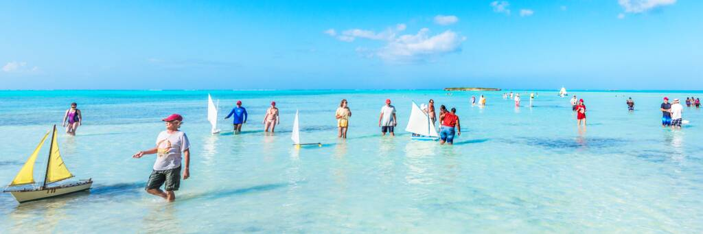 competitors at the Valentine's Day Cup model sailboat race on Middle Caicos