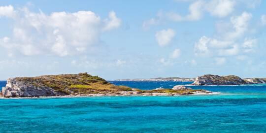 the beautiful Long Cay as seen from Tucker Hill on South Caicos