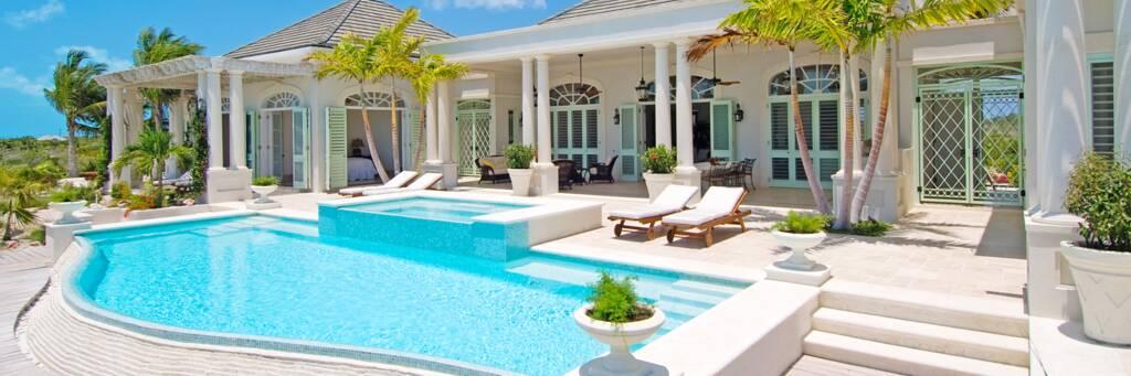the pool at Villa Shambhala on Long Bay Beach