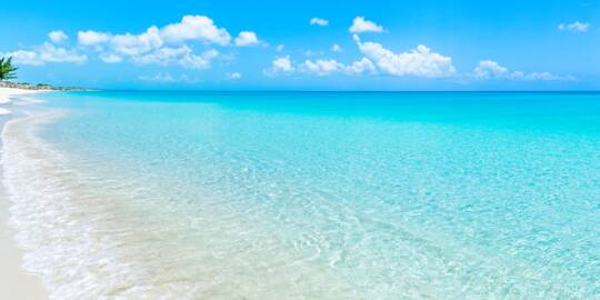 the incredible beach and ocean water at Water Cay in the Turks and Caicos