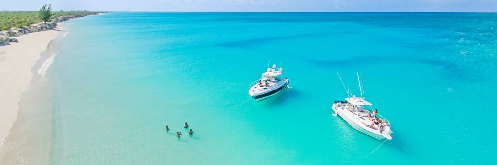 luxury boat charters at Water Cay Beach in the Turks and Caicos Islands