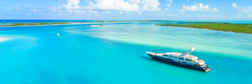 luxury yacht in the beautiful waters off Providenciales and Little Water Cay