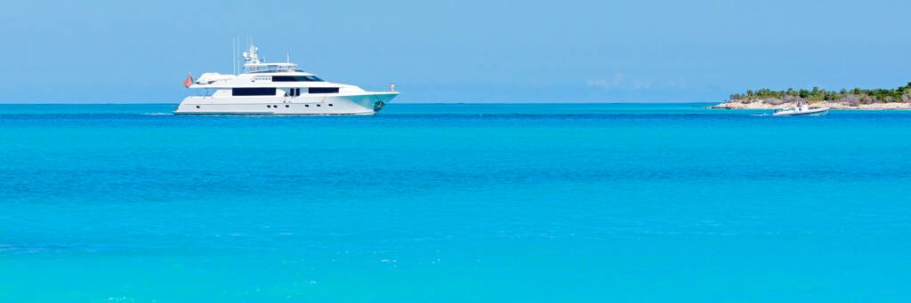 luxury yacht at Leeward in the Turks and Caicos