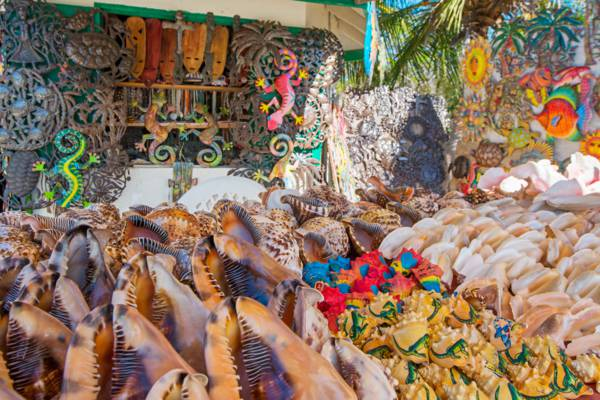 queen helmet conch shells and crafts for sale at Alverna's Craft Market in Grace Bay