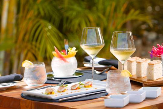 white wine and appetizers at the gourmet Beach House Restaurant on Providenciales