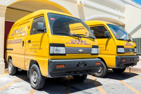 DHL vans on Providenciales