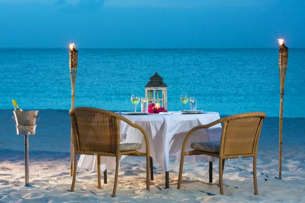 private beachfront dinner for two on Grace Bay