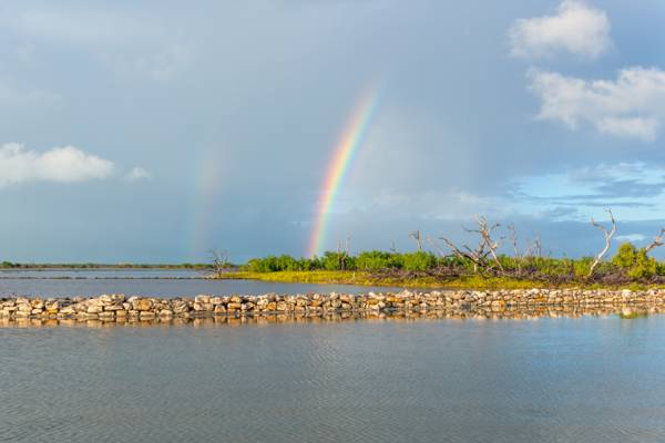 rainbow over the South Caicos salinas and wetlands