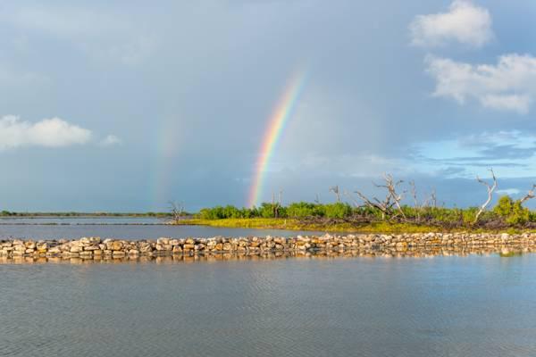 rainbow over the South Caicos salinas and wetlands