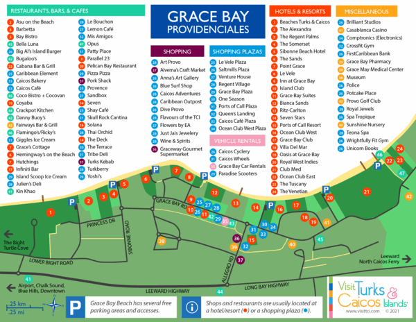 detailed Grace Bay map with beach access, resort, dining, and shopping information