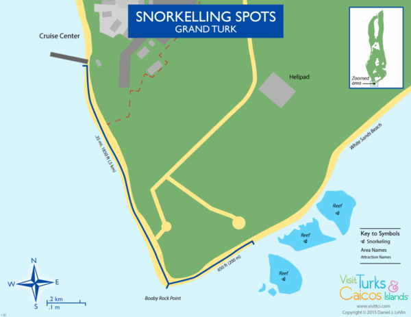 map of snorkelling reefs on Grand Turk