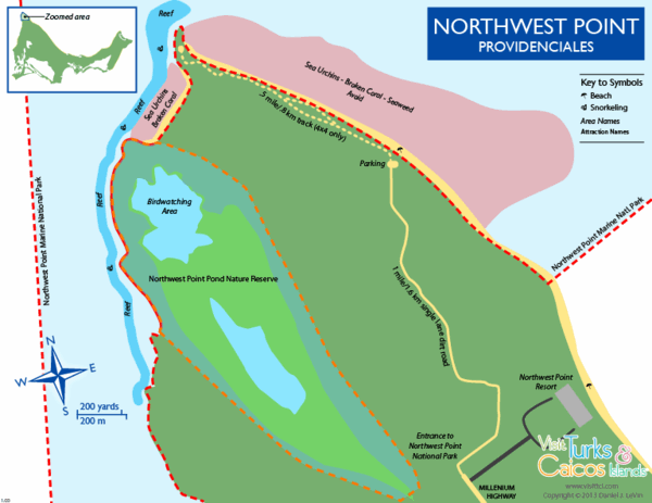 map of Northwest Point National Park on Providenciales