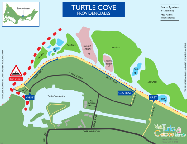 detailed snorkeling map for Smith's Reef near Turtle Cove