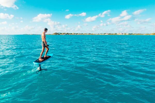 e-foil surfing in Turks and Caicos