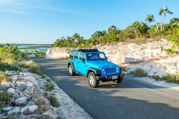 blue jeep wrangler in Turks and Caicos