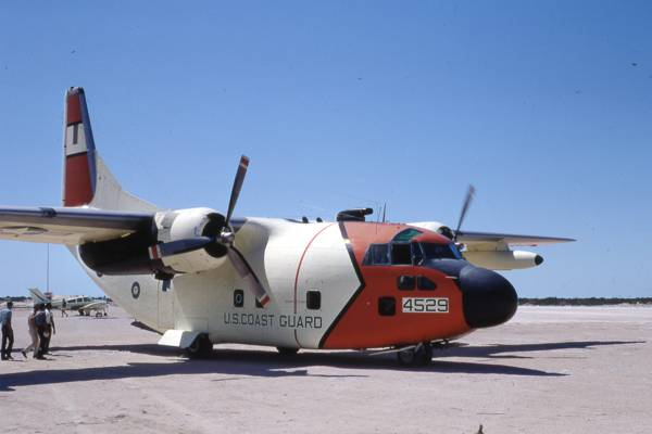 vintage photo of a U.S. Coast Guard Fairchild C 123B Provider at the South Caicos Airport