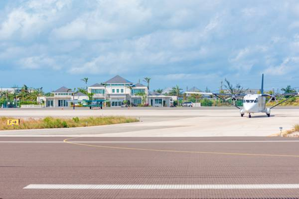 airplane at a FBO in the Turks and Caicos