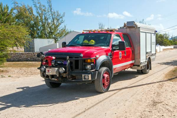 small Ford firetruck at Balfour Town on Salt Cay