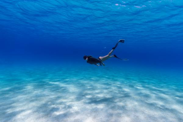 freediving in clear ocean water in the Turks and Caicos