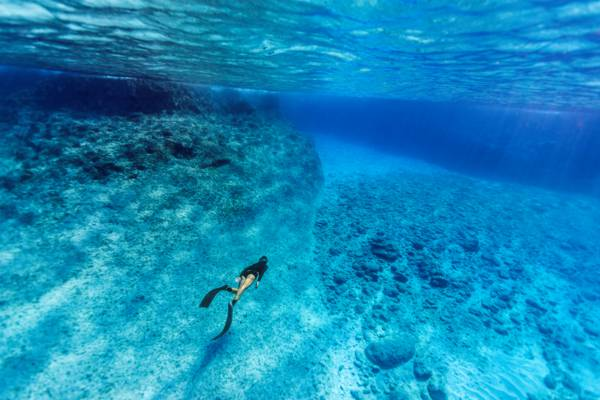 freediving in the clear blue water off the cliffs of West Caicos
