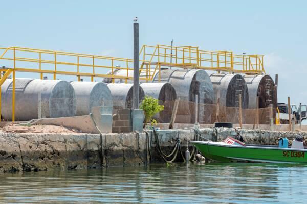 marine fuel storage tanks on South Caicos