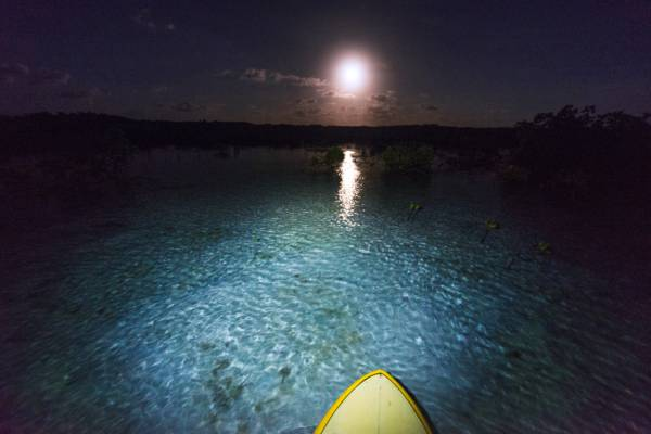stand up paddle boarding at night during the full moon in the Princess Alexandra National Park