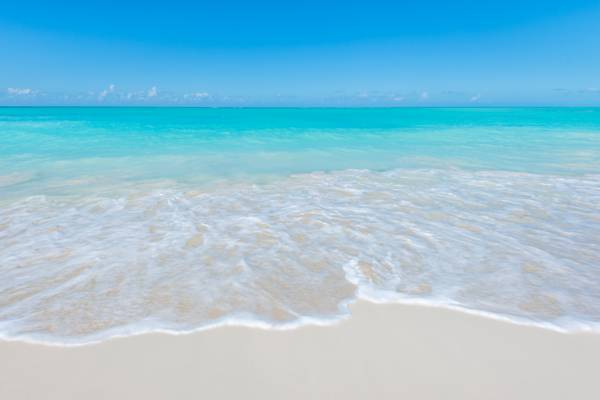 the beautiful beach and ocean at Leeward Beach in the Turks and Caicos