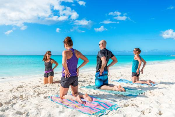 yoga on the Leeward Beach in the Turks and Caicos