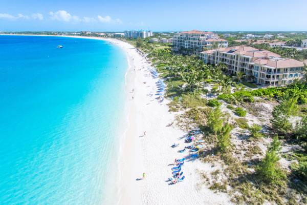 aerial view of the resorts and beach at Grace Bay on Providenciales
