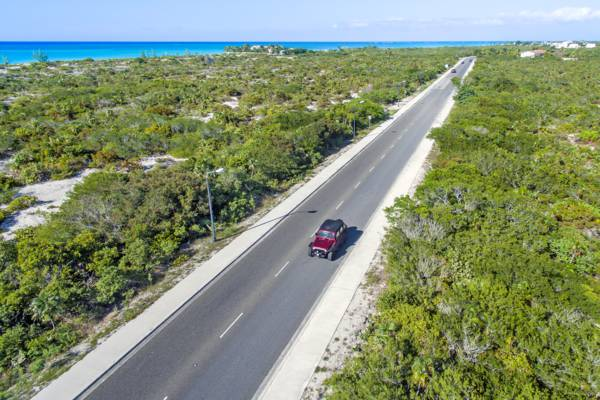 Grace Bay Road leading to the Leeward region of Providenciales