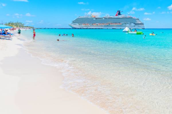 beach and cruise ship docked at the Grand Turk Cruise Center