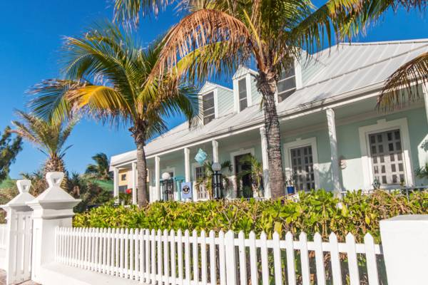 the Grand Turk Inn and coconut palms in the Turks and Caicos