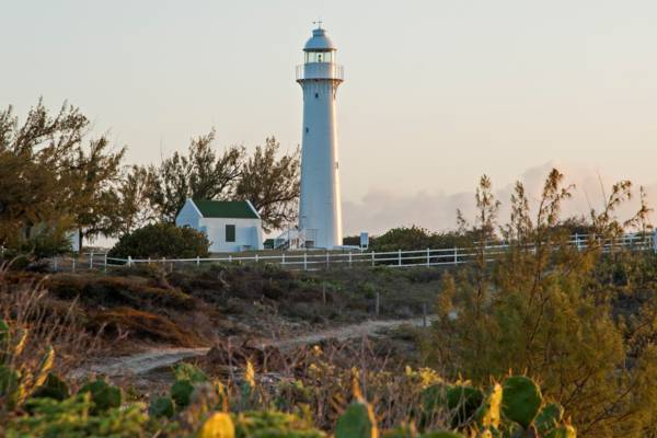 the Grand Turk Lighthouse in the Turks and Caicos at sunset