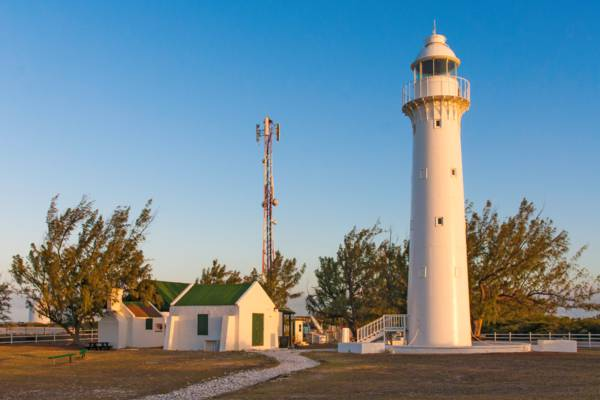 the grounds of the Grand Turk Lighthouse at sunset