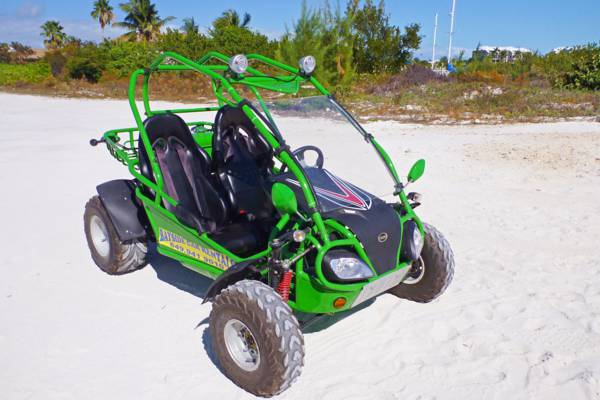 rental 4x4 dune buggy parked at Turtle Cove on Providenciales