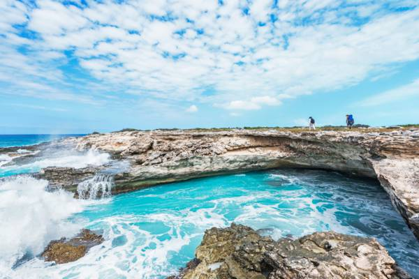 coastal cliff and breaking waves at the south-western end of West Caicos