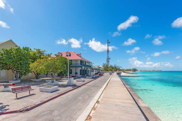 the oceanfront at historical Cockburn Town on Grand Turk