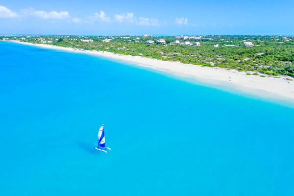 Hobie Cat sailboat cruising off of Leeward Beach on Providenciales