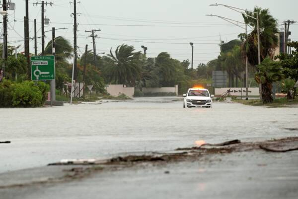 Flooding in the Turks and Caicos after Hurricane Isaias on 31 July 2020