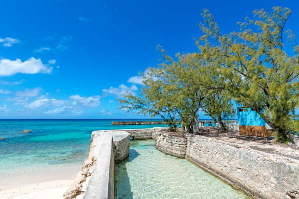 inlet to salt salina on Salt Cay in the Turks and Caicos