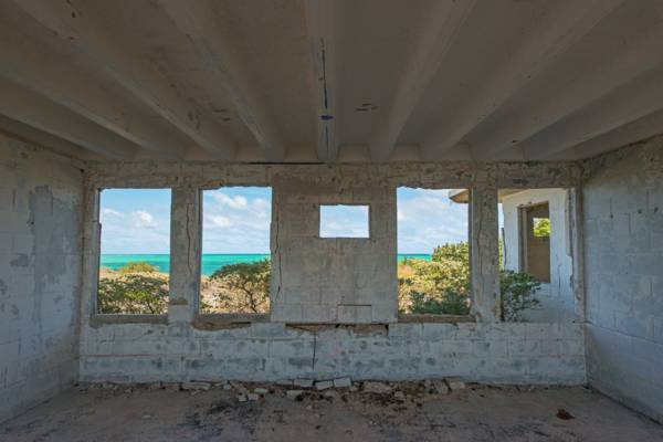 the view from the abandoned barracks at the U.S. Coast Guard South Caicos LORAN station