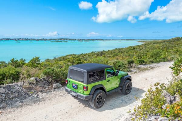 green jeep at Chalk Sound National Park