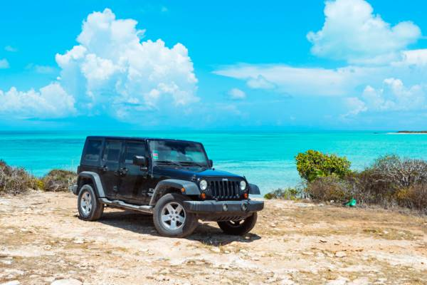 Jeep Wrangler at West Harbour Bluff on Providenciales
