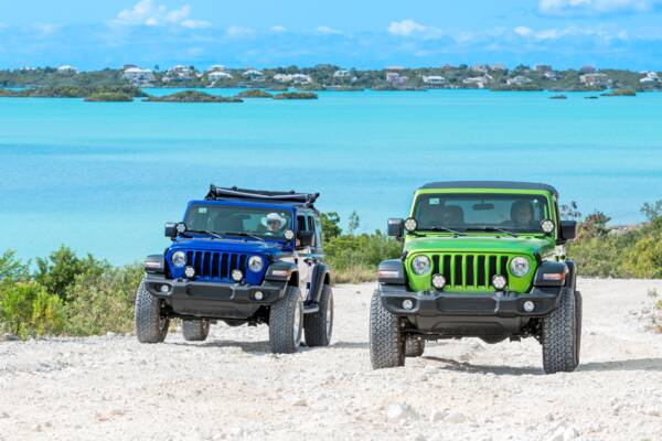 Jeep Wranglers at Chalk Sound on Providenciales