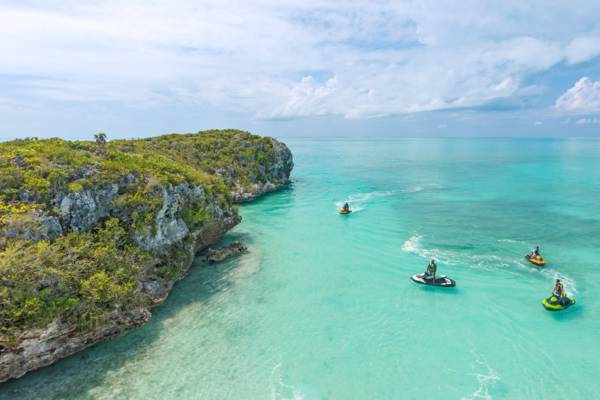jet ski tour at the cliffs and cave of West Harbour Bluff on Providenciales